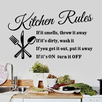 New Arrival Kitchen Rules Kitchen Restaurant Wall Stickers Home Decoration HG-WS-1567 = 1706360388