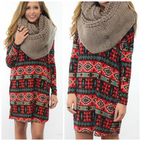 Puzzle Pieces Red & Black Tribal Print Tunic Dress