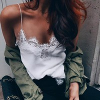 Ladies Summer Lace Chiffon Camisolas 2017 Strap Blusa Feminina Sexy Top Off Shoulder Shirt Women Sleeveless Party Camisole Tops