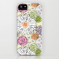Pastel color freehand sunflowers and roses iPhone & iPod Case by Silvianna