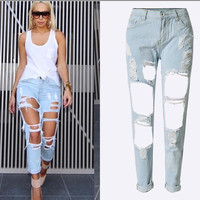 Holes Loose Solid Blue Straight 9/10 Boyfriend Jeans