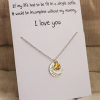 Love You Mother and Daughter Moon and Heart Woman Pendant Stone Necklace