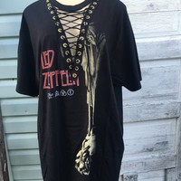 Led Zeppelin oversized lace up tshirt dress