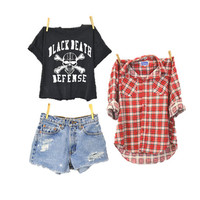 Mystery GRUNGE 90s outfit flannel shorts Tshirt / hipster indie 1990s / band T /  mystery outfit distressed cutoffs / Small Medium Large XL
