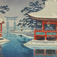 Yamato-e Art Printed on Canvas for Japanese Painting  Wall Decor Without Frame