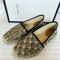 GUCCI GG espadrille embroidered letters bee ladies fisherman shoes lazy shoes