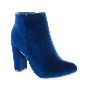 Kenzy4 By Liliana, Almond Toe Velvet Chunky High Heel Ankle Booties