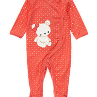Bear Dot Footed Onesuit