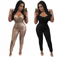 2016 Womens Off Shoulder Shinning Sequined Playsuits Long Rompers Women Jumpsuits Autumn Women's Bodysuits