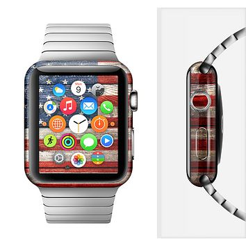 The Wooden Grungy American Flag Full-Body Skin Set for the Apple Watch
