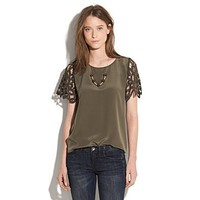 Women's SHIRTS & TOPS - blouses - Lattice Lace Silk Top - Madewell