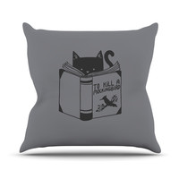 "Tobe Fonseca ""To Kill A Mockingbird"" Gray Cat Throw Pillow"