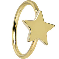 "20 Gauge 5/16"" Solid 14KT Yellow Gold Star Captive Ring 