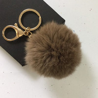 New! Very brown Fur pom pom keychain fur ball bag pendant charm