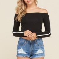 Speed Racer Off Shoulder Top in Black