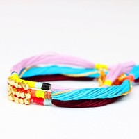 Thread Friendship Bracelet with Gold Nuggets
