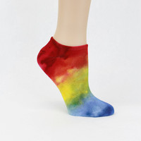 Bamboo socks, Bamboo ankle socks, rainbow ankle sock, hand dyed socks, footie socks