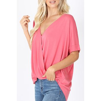 Loose Fit Short Sleeve V Neck Draped Front Blouse Top