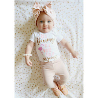 Pink and Gold Glitter Vinyl Onesuit, Be A Flamingo In A World Full Of Pigeons, Baby Girl Clothing