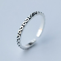 Vintage Retro Sterling Silver Simple Open Ring Adjustable -160