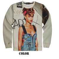 Plus Size 2014 New Spring Girls's Sweatshirts Digital Printed Celebrity Rihanna 3D Sweatshirt Tops Long Sleeve Pullover Hoodie = 1931996676