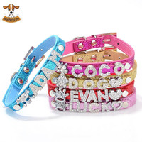 DIY Name Dog Collar Bling Personalized Pet Dog Collars with Buckle Puppy Cat Necklace Free 10MM Rhinestone Letters & Charms