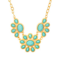 Ribbed Gold and Mint Shiny Stone Pretty Petals Statement Necklace