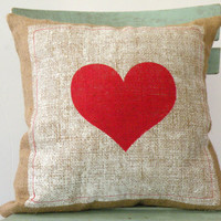"""Valentine's Day, Hessian/Burlap pillow cover, Red Heart Pillow, pillow size 16""""X 16"""""""