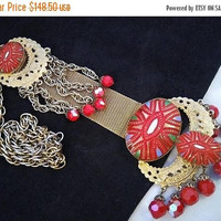 ON SALE Vintage ART Deco Egyptian Revival Long Dangle Red Crystal Red Art Glass Necklace, Vintage Bib Runway  Collectible Statement Jewelry