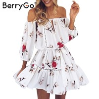 BerryGo Off shoulder hollow out summer dress Women casual beach white dress Loose floral print pleated sexy short dress robe