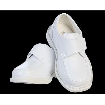 White Matte Finish Oxford Dress Shoes with Velcro Strap (Boys 5 Toddler - 6 Youth)