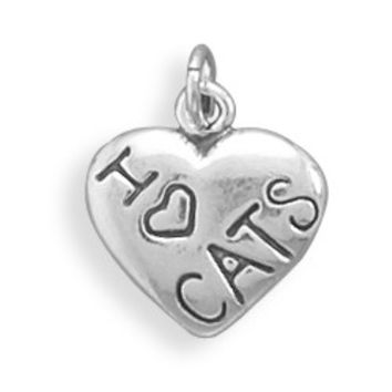 """Sterling Silver """"I Love CATS"""" Heart Charm"""