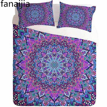 FANAIJIA bohemia 3d duvet cover set Mandala printing Bedding sets size queen king With Pillow Case best gift