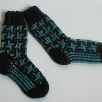 Knit Baby Boot Socks Navy and Turquoise  Size 2.5 to 3 years