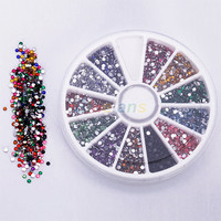New Wheel 2mm Nail Art Glitter Tips Rhinestones Round Gems for Nail Art Nail Beauty 00MG