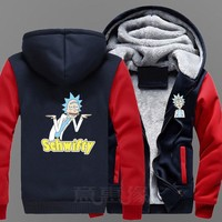 BOOCRE New Rick And Morty Hoodie Anime Fans Coat Jacket Winter Men Sweatshirts Long Sleeve hooded Zipper Thick Plus Size 5XL