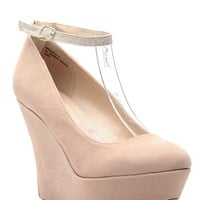Nude Faux Suede Ankle Strap Platform Wedges @ Cicihot Wedges Shoes Store:Wedge Shoes,Wedge Boots,Wedge Heels,Wedge Sandals,Dress Shoes,Summer Shoes,Spring Shoes,Prom Shoes,Women's Wedge Shoes,Wedge Platforms Shoes,floral wedges