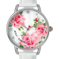 BJS SLIM WHITE AND SILVER FLORAL WATCH WHITE