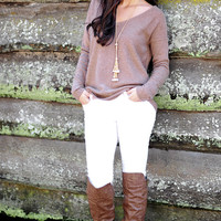 A Slow Ride Sweater: Tan/Nude | Hope's