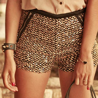 Gold Sequins Shorts