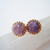 Raw Gemstone Stud Earrings - Lepidolite - Mineral Jewelry
