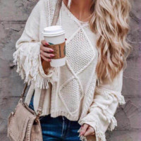 New autumn and winter loose sweaters Pure color fringed V-neck sweaters