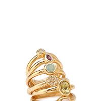 FOREVER 21 Bejeweled Graduated Ring Set Gold/Multi One