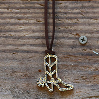 Antiqued Cowboy Boot Leather Necklace