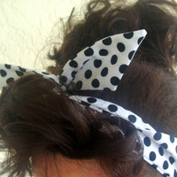 Dolly Bow, White with Black Polka Dots Rockabilly Wire Headband Pin Up 50s Hair Teen Woman