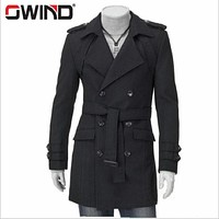 New 2016 Winter Mens Designer Clothing Cashmere Thick Belt Trench Coat Wool Warm Windbreaker Men Overcoat DFBTC006