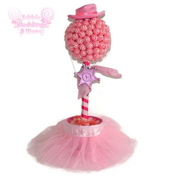 Cow Girl Lollipop Candy Topiary, Cow Girl Birthday Centerpiece, Candy Topiary, Lollipop Topiary, Birthday Girl, Cowgirl, Sheriff, Old West