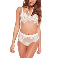 BellisMira Women Mesh Bra Set Lace Embroidery And Eyelash Trim White Halter Bralette Lingerie Set