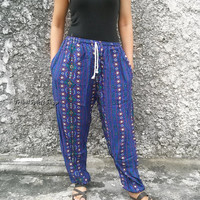 Unisex Blue Hippies Art print Trousers Yoga Harem Pants Baggy Boho Fashion Style Clothing Gypsy Tribal Cloth For Beach Summer Spring Chic