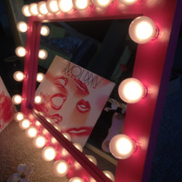 Light up vanity mirror called Hot Pink. Perfect gift any day of the year! Optional bulbs, dimmer and mount.See Listing.